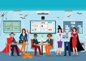 graphic of office with Halloween decor and coworkers dressed in costume