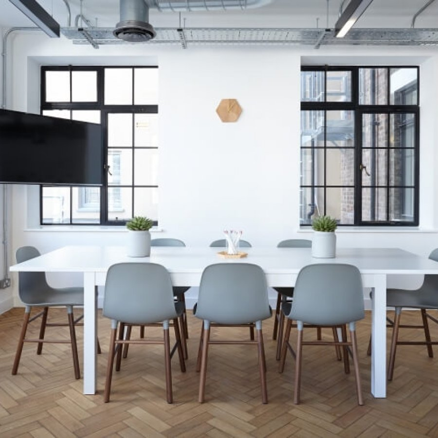 white themed office conference room