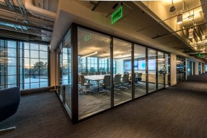 Mimcast's glass wall conference room