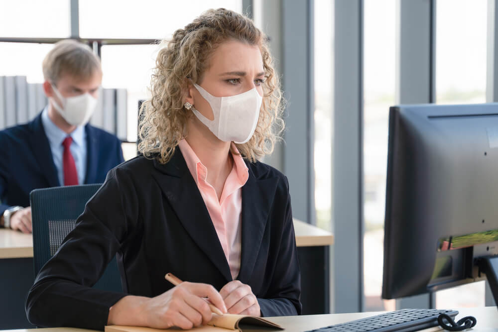 caucasian businesspeople with medical mask for coronavirus covid-19 protection working in office, coronavirus covid-19 outbreak control M