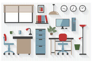 Flat Business Office Furniture Icons with Computers - All Long Shadows on one layer - contains blends
